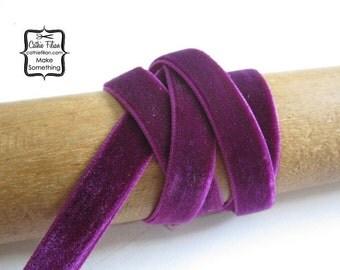 Velvet Ribbon - 3 yards Plum Purple - 3/8 - Trim, Millinery, LUX