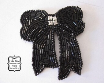 Black Beabed Bow embellishment - Applique, Millinery, Altered Couture, Hair Flowers, scrapbooking