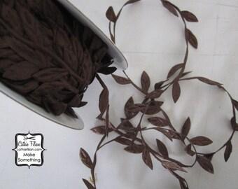 3 Yards - Chocolate Brown Leaf Trim - Wedding Garland Scrapbooking Gift Wrapping