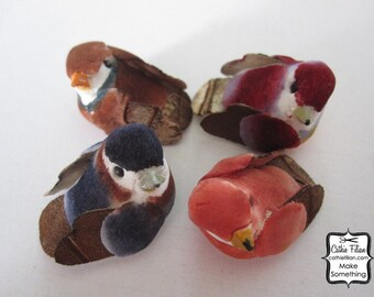 4 fall mushroom birds - purple, navy, brown, cinnamon - miniature swallow bird