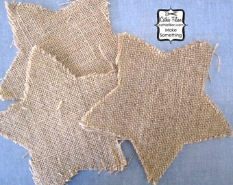 Stitched Burlap Stars - set of 3 - 6 inch - altered art - collage - scrapbooking - distressed for making banners