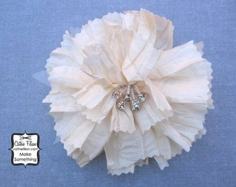 Ivory Silk Flower - Tattered Fabric and Rhinestone - Millinery, Altered Couture, Hair Flowers, Hair Bows