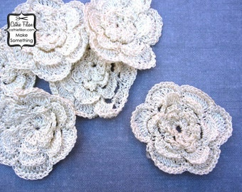Ivory Crochet Flowers - set of 6 - Embellishment, Hair Flowers, Headband Making, Millinery, Altered Couture