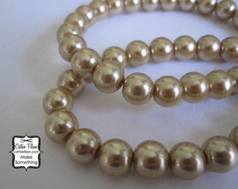 Tea Stain Tan Pearl Beads - 1 Strand of Pearls - 10mm - Glass - tea stain pastel