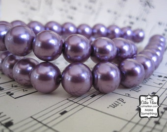 Purple Pearls - 1 Strand of Pearl Beads - 10mm - Glass - Plum