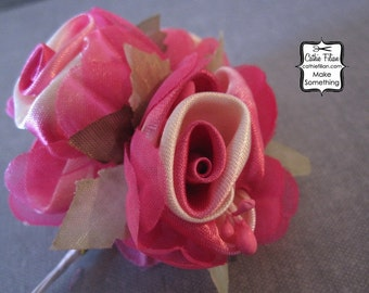 Ribbon Rose Bundle - Pink and Ivory Ombre -  Millinery, Altered Couture, Hair Flower, Embellishment