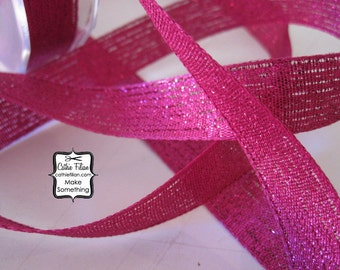 "Sparkle Ribbon - Hot Pink - 3/4"" wide - 5 yards - Textured Metallic"