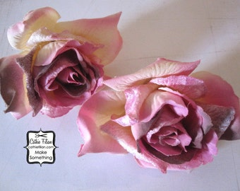 Velvet Rose - set of 2 Pink and Purple - Millinery, Altered Couture, Hair Flowers, Silk Flowers Roses, Bridal White