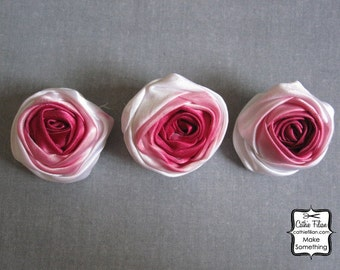 Ombre Pink Fabric Flower - 3 pieces - Rose - Millinery, Altered Couture, Hair Flowers, Pin Listing Stats