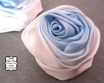 Ombre Blue Fabric Flower - 3 pieces - Rose - Millinery, Altered Couture, Hair Flowers, Pin