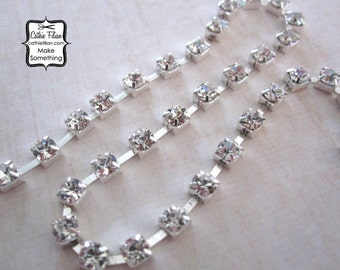 Rhinestone Chain - 3mm - Silver Plated - wedding jewelry making