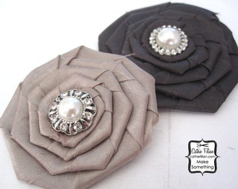 Silk Fabric Rose - Black and Grey - Rhinestone and Pearl Flower - Millinery,Embellishment, Hair Flowers, Pins