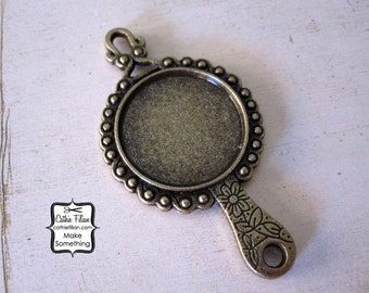 Mirror Pendant - Well Blank Bezel - Antique Brass - Beauty Charm