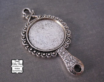 Mirror Pendant - Well Blank Bezel - Antique Silver - Beauty Charm