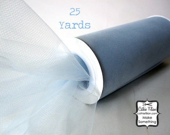 "Baby Blue Tulle - 25 Yards - 6"" - favors, streamers, pom-poms, tutus, weddings, showers, party decoration, bows"