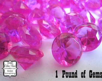 1 Pound - faux diamond gems - Hot Pink - weddings party favors