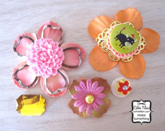 Resin Flower, Cameo, Cabachon, Rhinestones, Poppy Flower, Bird, Bull - Ruby Violet Embellishments - 5 pc set
