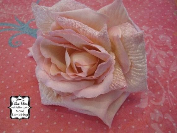 Velvet Rose- Whisper Pink - Millinery, Altered Couture, Hair Flowers, Silk