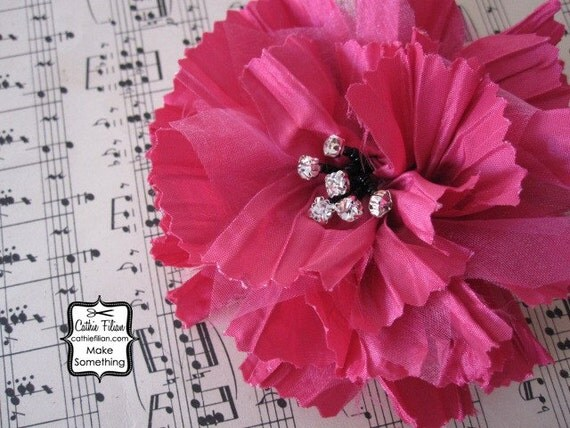 Hot Pink - Tattered Fabric and Rhinestone - Silk Flower, Millinery, Altered Couture, Hair Flowers,