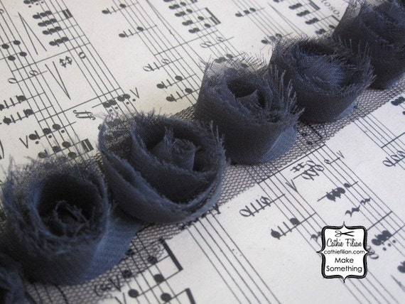 Grey Tattered Rose Ribbon - Altered Couture - Shabby Style