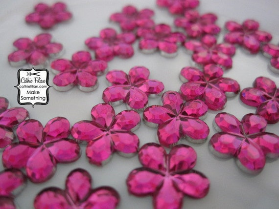 300 hot pink flower rhinestones - loose gems, crystals, party supply, baby shower wedding