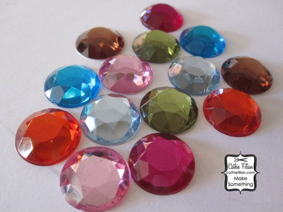 14 - 18 mm acrylic rhinestones - Hot Pink, Baby Pink, Olive, Baby Blue, Turquoise, Coffee Brown, Poppy Redloose gems
