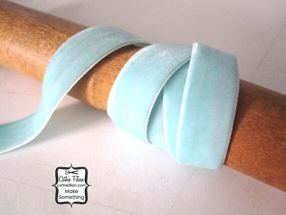 Velvet Ribbon Robin's Egg Blue  5/8 Trim, Millinery - 3 yards
