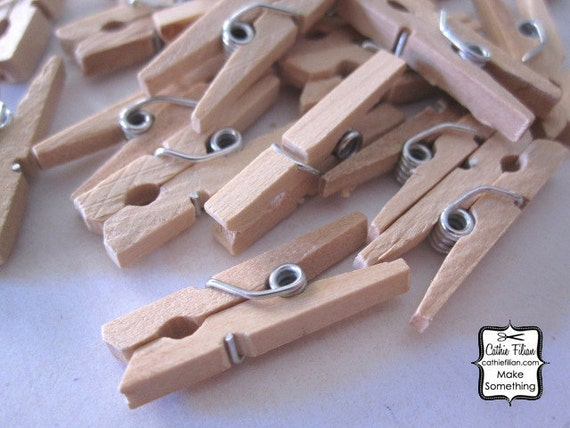 24 Mini Clothespins - natural wood wooden - Embelishment for scrapbook, party favors, altered art