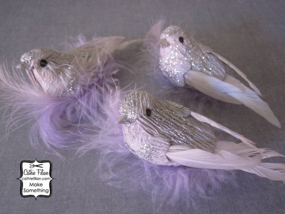 3 Silver and Purple Party Birds - Glittered and feathered - wreath making