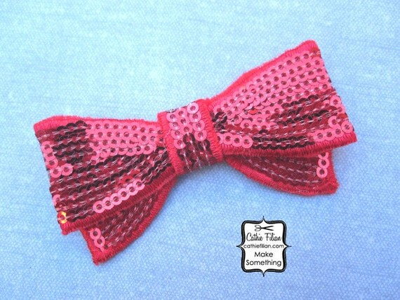 Ruby Red Sequin Bow Applique - Millinery, Altered Couture, Hair Flowers, Scrapbooking, Hair Bows, Embellishment