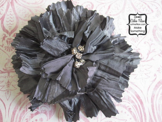 Grey Silk Flower - Tattered Fabric and Rhinestone - Millinery, Altered Couture, Hair Flowers, Hair Bows