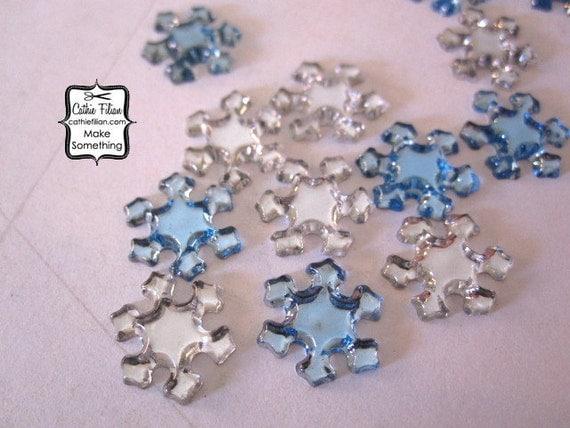 Snowflake Rhinestones - 100 pcs - Crystal Clear and Sky Blue
