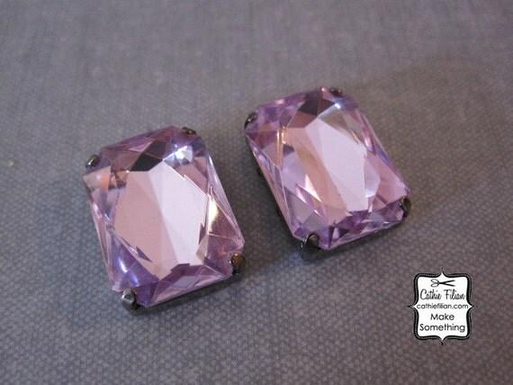 Rhinestone Embellishment - Lavender Purple  Emerald Cut - Pin, Button - Silk Flower Bows and Headband Making