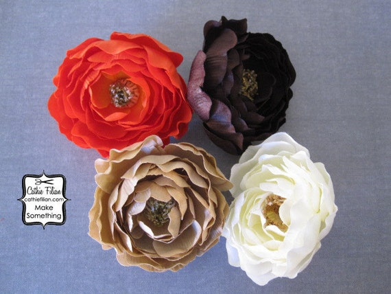 Silk Flowers - Tuea Stain, Ivory, Chocolate Brown and Orange - set of 4 - Millinery, Hair Flowers, Pin