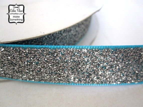 Silver Glitter Ribbon - 5 yards - Metallic Sparkle Glitter - Aqua Turquoise - 5/8 wide