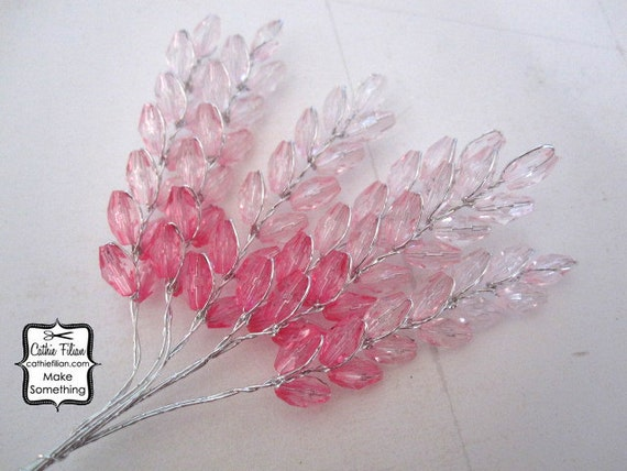 Pink Beaded Flowers - Hot and Pastel Pink  Ombre - Altered Couture - Millinery - Wedding Pastel
