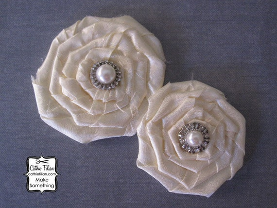 2 Silk Fabric Rose - Ivory Cream - Rhinestone and Pearl Flower - Millinery,Embellishment, Hair Flowers, Pins