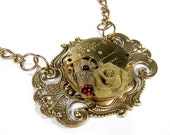 Steampunk Necklace Gold Pocket Watch Ruby Crystals Mesh Rose, Trending Jewelry Wedding Bridal Mom Mothers Day Gift - Jewelry by edmdesigns