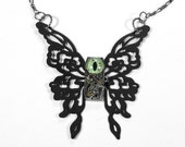 Steampunk Jewelry Necklace Black BUTTERFLY Vintage Watch REPTILE EYE Green Eyes, Mens Womens Valentine's Day Gift - Jewelry by edmdesigns