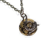 Steampunk Necklace Pocket Watch Movement MYTHICAL Sea Creature FISH Anniversary Mothers Steam Punk Men Womens Gift - Jewelry by edmdesigns