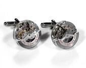 Steampunk Cufflinks Vintage SEIKO SWIVEL Jeweled Watch Cufflinks RARE Mens Cuff Links Spinning Anniversary Wedding - Steampunk by edmdesigns