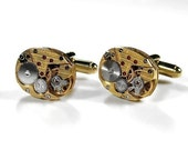 Steampunk Jewelry Mens Cufflinks Vintage Gold HAMILTON Pinstriped Jeweled Watch Cuff Links Wedding Anniversary - Steampunk by edmdesigns