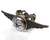 Steampunk Vintage Swiss PETITE ROUND 17 Ruby Jeweled Watch Movement EXRAORDINARY GEAR DETAIL and TEXTURED WINGS on Adjustable Filigree Brass Ring - STUNNING UNISEX PIECE - Offered Exclusively by edmdesigns