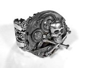 Steampunk Jewelry Mens Ring Silver Bold Segmented Watch Movement SKULL BONES Gears Mens Womens Rocker Punk Ring COOL - Jewelry by edmdesigns