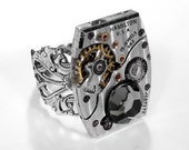 Steampunk Ring Vintage Hamilton Pinstripe Watch Featured in JEWELRY ARTIST MAG Mens Womens Valentine's Day - Steampunk Jewelry by edmdesigns