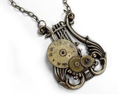 Steampunk Jewelry Necklace Vintage Watch Dial Clock Gear Musical LYRE Pendant Steam Punk Jewelry Men Women - Steampunk Jewelry by edmdesigns