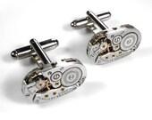 Steampunk Jewelry Cufflinks Vintage ELGIN Oval Ruby Jewel Watch Men's Cuff Links WEDDING Anniversary Groom - Steampunk Jewelry by edmdesigns