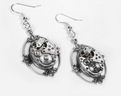 Steampunk Jewelry Earrings Vintage Watch LOTUS LEAF Steam Punk Wedding Anniversary Mom Mother's Day Gift - Steampunk Jewelry by edmdesigns