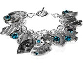 Steampunk Bracelet Sterling Silver Watch Parts Dangle Bracelet Etched Turquoise Crystal STEAMPUNK STYLE JEWELRY Book - Jewelry by edmdesigns