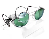 Steampunk Goggles - Vintage American Optical Steampunk Goggles Glasses with GREEN TINTED Glass and Mesh Side Shields plus 2 Magnifier Loupes - MINT - edmdesigns Exclusive